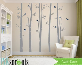 Birch Decal with Birds Large set,5 Birch decal, birch tree set, Birch forest, Modern Nursery, Nursery decals, Baby Decals