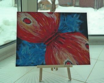 Abstract Red Butterfly - Acrylic Painting, Butterfly Painting, Wings Butterfly