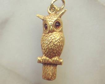 FLASH SALE Perfect Art Deco Owl Charm   Vintage Solid 14k Gold Sloan & Co   1930s Retro Charm Bracelet Necklace   Garnet Eyes   Gift Wisdom