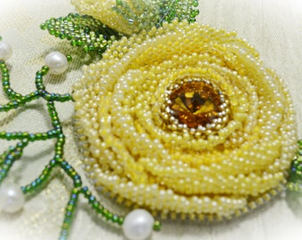 Swarovski Yellow Crystal Brooch Beaded Wedding Floral Brooch Handmade Artisan Brooch Beaded Pin Statement Wedding Jewelry Mother's Day Gift