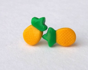 Dainty Pineapple Earrings - Pineapple Studs - Nickel Free - Food Earrings - Fun Studs - Cute Earrings - Non Metal Post -  Vegan Gift