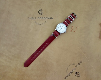 Red Shell Cordovan leather ZULU watch band, width 16, 17, 18, 19, 20, 21, 22, 23, 24 mm.
