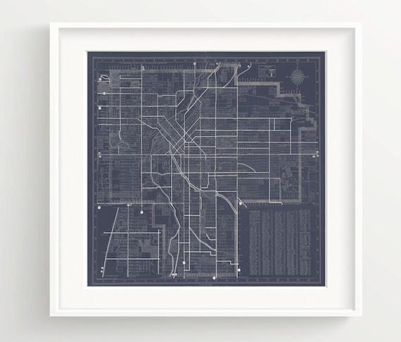 Denver colorado map print vintage blueprint wall art malvernweather Choice Image