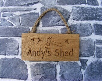 Personalised Shed Sign/ wooden hanging sign/Engraved Oak Plaque/Garden Shed Birthday Gift/Valentine Gift