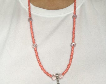 """Pretty in pink necklace, 14"""""""