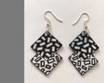 Earrings - two black, white and silver squares overlapping