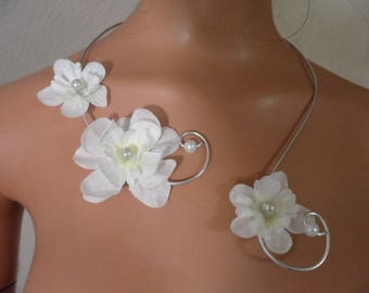 Necklace - silver and white - bridal white delphinium flowers