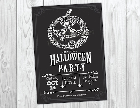 Halloween Invitation / Halloween Party Invitations / Pumpkin Carving Party / Halloween Bash / Costume Party