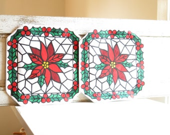 Vintage Pointsettia placemats / Barth and Dreyfuss stained glass cloth mats / Christmas home decor / holiday table linens