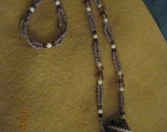 Peyote Beaded Miniature Bottle/Catcher Necklace...Amethyst,White & Mauve ...handmade...OOAK