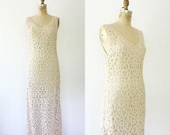 vintage lace dress / cream lace dress / Battenberg Lace dress