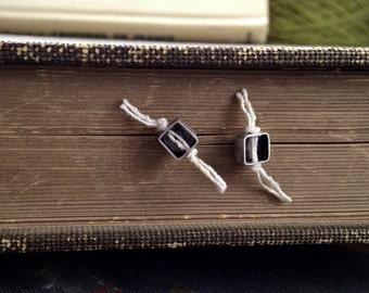 White Tuft Post Earrings - Large