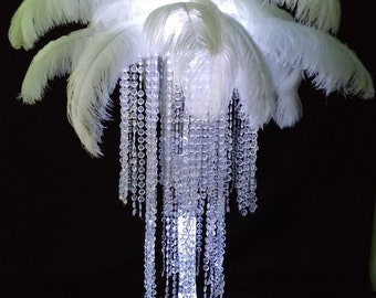 Stunning 3 Tier Acrylic Crystal Chandelier Centerpiece with LED Lights With or without Feather top Wedding and Event