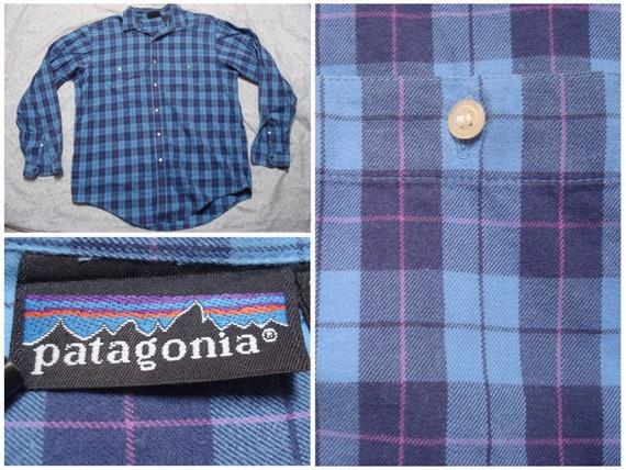 Vintage Retro Men's 90's Patagonia Shirt Plaid Red Blue White Cotton Buttonup Long Sleeve XL Made in Portugal LMPst