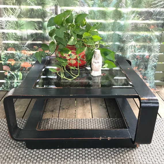 Mid Century Modern wooden coffee table - square black glass top table - living room table - Portland Metro PICKUP or DELIVERY ONLY