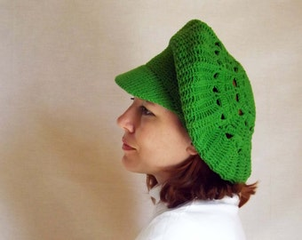 Take-cap yarn made to order , cap, hat with brim, hat hook knitted hat, knitted beret