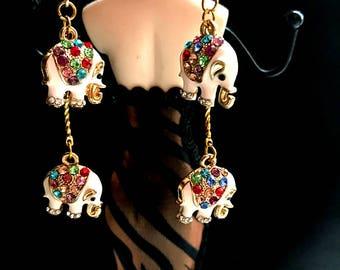 Dangle Elephant earrings, Multi colored Rhinestone Tiny Elephant Earrings. Elephant Jewelry, Animal Jewelry-B004
