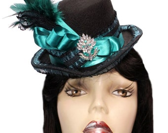 Black Riding Top Hat Teal Appeal Rhinestone Steampunk Tea Party Fascinator Cocktail Blue Green