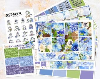 Hydrangeas floral weekly set / kit stickers -  for Erin Condren HORIZONTAL Planner - summer watercolor wood purple blue