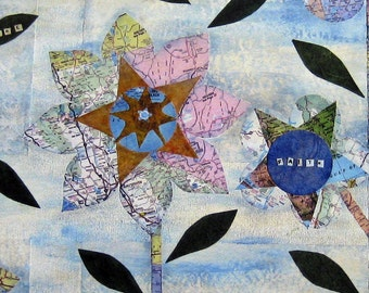 Flowers, Flowers Print, Map Art, Recycled Map, Art Print, Room Decor,Inspirational, Whimsical, Floral, Collage, Unique Gift, 8 x 10
