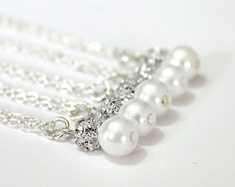 Set of 7 Bridesmaid Necklaces,Sterling Silver Chain,Pearl and Rhinestone Necklaces, Pearl Necklaces,7 Pearl and Crystal Necklaces Gift Ideas