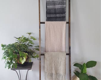 Blanket Ladder Handmade Solid Wood with Dark Walnut Finish LOCAL PICKUP ONLY