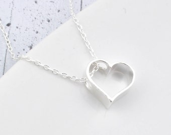 Sterling Silver Heart Necklace, Necklace Heart, Heart Pendant, Heart Silver, Heart , love, gift for her, little Heart,