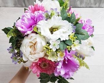 Purple Bridal Bouquet Purple Wedding Bouquet Bridesmaid Bouquet Pink bridal bouquet Wedding Faux bouquet Purple Silk Wedding flowers