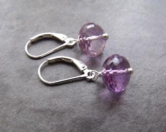 Purple Amethyst Faceted Large Rondelle Lever Back Sterling Silver Drop Earrings