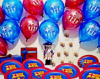 FC Barcelona Party Set Birthday 30 PCS Decoration Plates Cups Balloons FCB