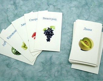 Fruit in Russian, French, English, German: Translation cards, Flash cards, Word game, children's game, learn a language