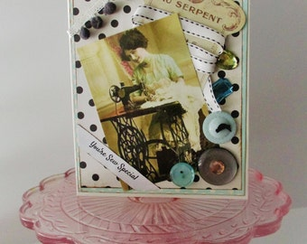 Handmade vintage style Greeting Card Sewing theme Seamstress Friendship Birthday Shabby