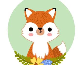 PRINTABLE digital illustration - FOX - instant download, digital download, nursery wall art, printable nursery decor, woodland animals