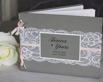 Grey & Blush Wedding Guest Book, Grey Pink Wedding Guest Book, Lace Guest Book, Wedding Guest Book, Guest Book, Grey Pink Wedding,