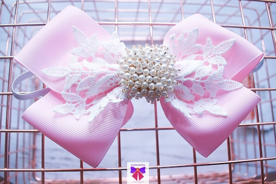 White and Pink Layered Bow with Pearls - Baby / Toddler / Girls / Kids Headband / Hairband / Hair bow / Barette / Hairclip
