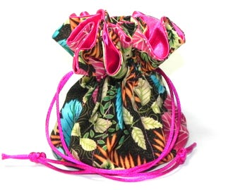 Jewelry Drawstring Travel Bag - Organizer bridal Pouch - Floral in  pink, green, brown, blue and yellow - Mothers Day gift idea