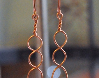 Hand made Copper loops and pink bead dangle earrings