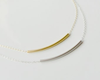 Tube Necklace, SILVER or GOLD Curved Minimalist Tube Bar Necklace, Layering Jewelry, Dainty Simple Everyday Necklace, Bridesmaid Gift Idea
