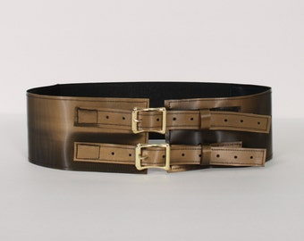 "Iridescent Brown 3"" wide Belt with Brass Buckles"