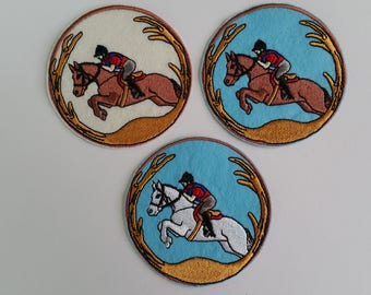 Horse racing iron on or sew on patch Racing horse iron on patch Racing horse sew on patch Horse racing patch Horse patch Sport patch iron on