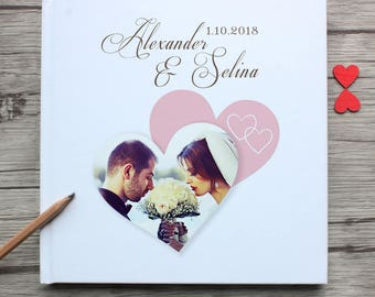 Forever love white wedding guest book,custom travel memoir guestbook,personalized couple photo white wedding guest book alternative