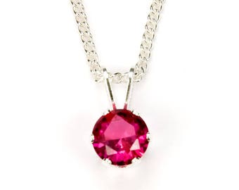 Red Ruby Necklace Bridesmaids Gift For Her, .925 Sterling Silver Pendant Necklace Gift For Mom, July Birthstone Jewelry Gift For Women, 6mm