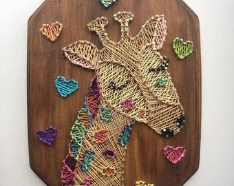 Rainbow Giraffe string art