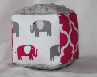 New!  Small Pink and Gray Elephants Fabric Block Rattle Toy - SALE