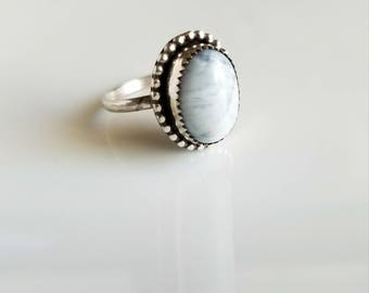 Beautiful natural simple round sodalite sterling silver ring- size 9, boho chic, blue, trendy, pretty, hipster, gypsy