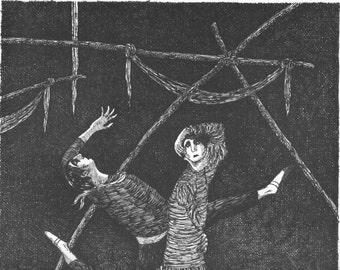 EDWARD GOREY Original Vintage 1970's Poster Print. Macabre Art, Gothic Home Decor. Bizaare Ballet Scene Ballet Dance Dancer