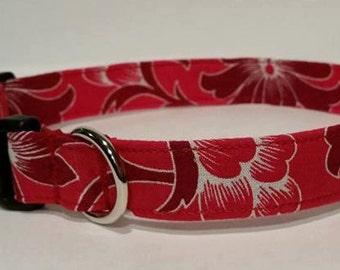 Red hibiscus dog or cat collar