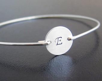 Initial Bracelet, Sterling Silver Monogram Bracelet, 925 Sterling Silver Bracelet Bangle, Personalized Silver, Sterling Bracelet