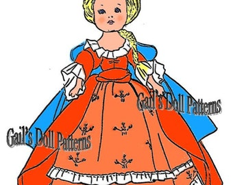 Queen Anne Doll Dress Pattern to fit Ginny Walker Doll