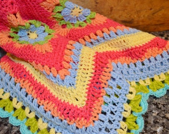 Crochet Baby Blanket Red and Orange Flower Granny Squares   No.034